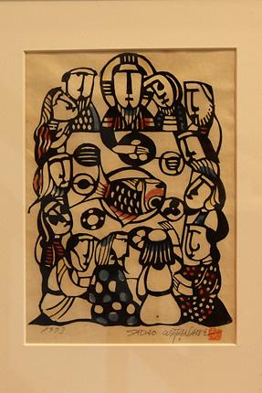 『最後の晩餐』渡辺禎雄 型染版画 1973年