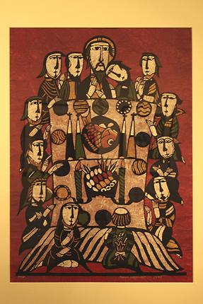 『最後の晩餐』渡辺禎雄 型染版画 1978年