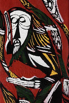 『聴く』 1960年 型染版画 渡辺禎雄 (1913-1996)