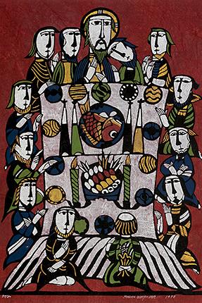 『最後の晩餐』 渡辺禎雄 型染版画 1978年