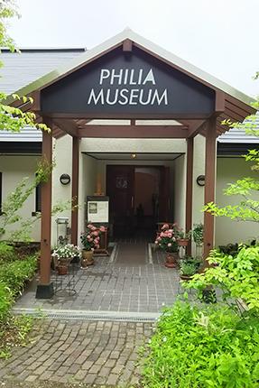 玄関の様子。アナベル(西洋アジサイ)を中心にいろんな鉢植を飾っています