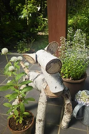 玄関でお出迎えする小鹿。春に伐採した駐車場のシラカバでつくっていただいたものです