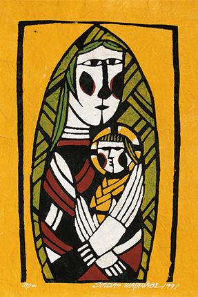 『聖母子』 型染版画 1975年 渡辺禎雄 (1913-1996) フィリア美術館蔵